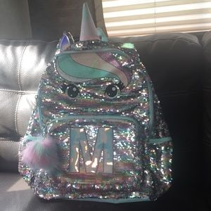 """Justice pastel sequin unicorn backpack """" M """""""